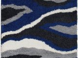 Grey White and Blue Rug Shed Free Shaggy area Rugs Contemporary Abstract Wave