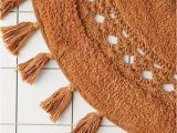 Half Circle Bath Rug Crochetinset Bath Mat with Tassel Trim and Cushy Cotton