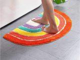 "Half Circle Bath Rug Udolfly Non Slip Bathmats for Bathroom Rainbow Bathroom Rugs Half Circle Bath Mats Kids Bath Mats orange area Rugs 20""x32"""