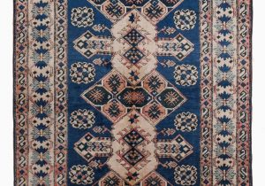"Hand Knotted Blue Rugs Beige Blue New Hand Knotted Anatolian Rug 4 9"" X 7 2"" 57 In X 86 In"