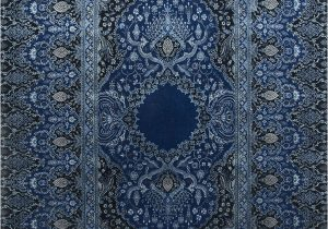 Hand Knotted Blue Rugs Qm 401 Medium Cobalt Me Val Blue