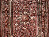 Hand Knotted Persian area Rug Geometric Hamedan Persian area Rug Coral Hand Knotted