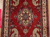 Hand Knotted Persian area Rug Persian Sarouk Hand Knotted Wool Red Navy Blue Floral