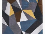Hand Tufted Blue Wool Rug and This Hand Tufted Blue Grey Yellow Wool Rug Rug