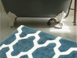 High Quality Bathroom Rugs Warisi Roman Quatrefoil Pattern area Bedroom Bathroom Rug Aqua Blue White