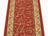 Home Depot Rubber Backed area Rugs Custom Size Veronica Floral Red Roll Runner 26 In Wide X Your Length Choice Slip Resistant Rubber Back area Rugs and Runners Red 6 Ft X 26 In
