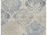 Indira Gray Light Blue area Rug Thora Floral Wool Light Gray Blue area Rug