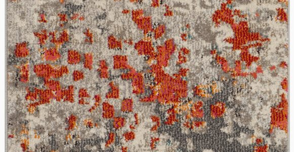 Indira Gray orange area Rug Indira Abstract Gray orange area Rug
