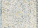 Ivory and Teal area Rugs Hillsby oriental Ivory Cream Teal Yellow area Rug