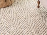 Ivory tonal Sweater Wool Emilie area Rug Kiwa Handwoven Jute Jagged Chevron F White Rug