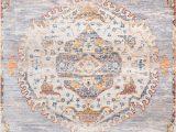 Large area Rug with Fringe Edessa Frilly ornate Medallion Fringe Gray Rug
