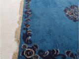 Large Blue Wool Rug Moroccan Berber Vintage Blue Wool Rug