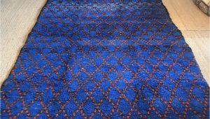 Large Blue Wool Rug Vintage Moroccan Pile Rug Cobalt Blue Hand Woven 1970s Wool Rug Geometric Red Diamond Design