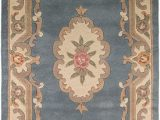 Large Half Moon area Rugs Erugs Traditional original Classic Aubusson Floral Wool Hand Tufted Chinese Rug Blue 150 X 240cm