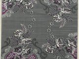 Lavender and Grey area Rug Purple Grey Silver Black Abstract area Rug Modern Floral Rug
