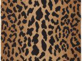 Leopard Print Bath Rugs Leopard Animal Print Hand Hooked Wool Brown Black area Rug