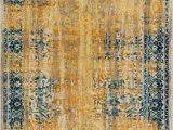Light Blue and Gold area Rug Alhambra Modern Vintage Bright Floral Traditional Medallion Yellow Gold Blue area Rug