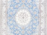 Light Blue area Rug 5×8 Floral Medallion Light Blue 5×8 Nain Persian area Rug