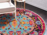 Light Blue Circle Rug Unique Loom Medici Collection Abstract Botanical Vibrant