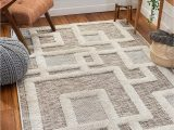 """Low Pile White area Rug Well Woven Helga Beige Flat Weave Hi Low Pile Geometric Boxes area Rug 5×7 5 3"""" X 7 3"""""""