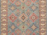 """Low Pile Wool area Rug E Of A Kind Alisa Super Hand Knotted 5 X 6 8"""" Wool Blue area Rug"""