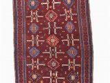 Maroon and Blue Rug Antique Kazak Rug Burgundy Red Blue Rug 4 X 5 Ft Rug Etsy