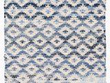Melange Diamond Blue Woven Cotton Rug Diamond Handwoven Flatweave Ivory Blue area Rug