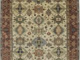 Memory Foam area Rug 8×10 Derosa Tribal Karajeh oriental Hand Knotted Wool Cream Brown area Rug