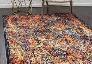Menards Indoor Outdoor area Rugs Unique Loom Rosso Collection Vintage Traditional Distressed orange area Rug 8 0 X 10 0
