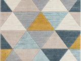 Mid Century Style area Rugs Ruby Rita Mid Century Modern Geometric Triangles Blue Mint Ivory area Rug
