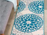 "Modern Floral Circles area Rug Rugshop Modern Floral Circles Design area Rug Runner 2 X 7 2"" Blue"