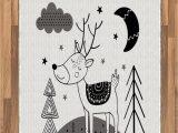 Moon and Stars area Rug Amazon Printawe Nursery area Rug Deer Clouds Stars