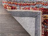 Multi Colored Striped area Rugs Handmade Striped Multi Color Plush Shag area Rugs – Modern