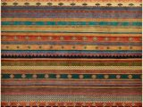 "Multi Colored Striped area Rugs Tribal Stripes Hand Knotted area Rug6 1"" X 9 1"""