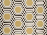 Mustard and Blue Rug Multi Colored Hexagon Pattern Rug by Jill Rosenwald