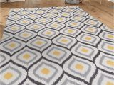 "Mustard Yellow and Gray area Rug Modern Moroccan Design Non Slip Non Skid area Rug 5 X 7 5 3"" X 7 3"" Gray Yellow"