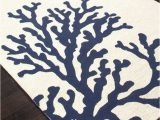 Navy and Coral area Rug Coral Branch Out area Rug Navy Blue and White
