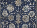 Navy and Taupe area Rug Hesston Floral Hand Knotted Navy Taupe area Rug