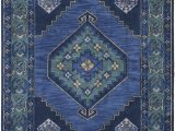 Navy Blue and Teal area Rugs Jenica Rug
