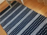 Navy Blue and White Striped Rug Scandinavian Striped Rug Navy Blue and White Floor Runner