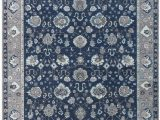 Navy Blue Border Rug Wool Hand Knotted Rug Navy Blue Gray Ivory