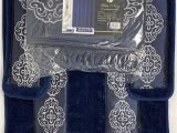 Navy Blue Contour Bath Rug 4 Piece Bathroom Rugs Set Non Slip Navy Blue Print Bath Rug toilet Contour Mat with Fabric Shower Curtain and Matching Rings Yila Navy