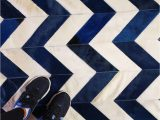 Navy Blue Cowhide Rug Chevron Pattern In Navy Blue and Cream What Else Shinerugs