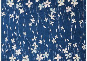 Navy Blue Floral area Rug Floral Navy Blue Ivory White area Rug