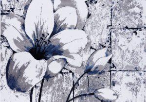 Navy Blue Floral area Rug Grey Blue Tulips Floral area Rug