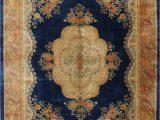 Navy Blue Floral Rug Navy Blue Floral Art Deco Chinese oriental Hand Knotted 9×12