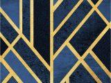 Navy Blue Geometric Rug Cmwardrobe Rugs Modern Carpet Traditional for Living Room Bedroom Traditional Geometric Art Navy Blue Black Gold soft touch Non Slip Xxl Extra Large