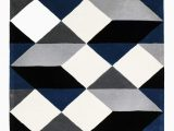 Navy Blue Geometric Rug Dresden Navy & Grey Geometric Wool Rug