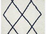Navy Blue Geometric Rug Vienna Collection Modern Geometric Shaggy area Rug G2927 White & Dark Blue