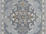 Navy Blue Grey and White area Rug Rizzy Home Resonant Collection Wool area Rug 8 X 10 Gray Light Gray Dark Beige Blue Gray Central Medallion
